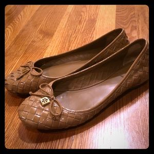Tory Burch patent leather basketweave ballet flats